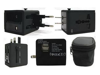 World Travel Adaptor with 2 USB Hub - 1000Mah WTP-307